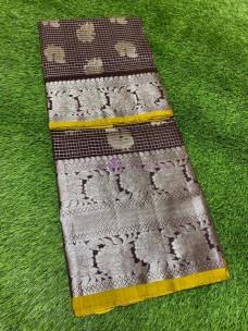 Dark chocolate brown pure venkatagiri silk sarees
