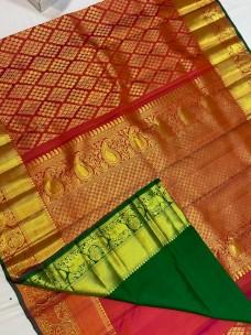 Maroon red with dark green pure kanchipuram bridal silk sarees