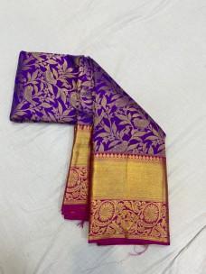 Purple with pink pure wedding silk sarees