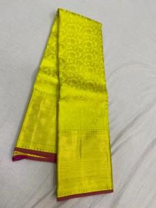 Lemon yellow with dark pink pure kanchipuram wedding silk sareee