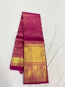 Dark pink pure kanchipuram silk sarees