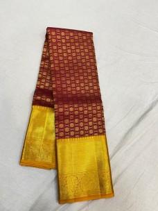 Maroon red with dark mustard pure kanchipuram wedding silk sarees