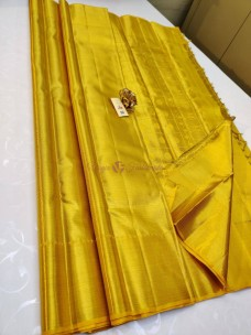 Yellowish gold pure kanchipuram silk sarees