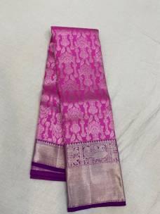 Dark pink with dark purple pure kanchipuram silk