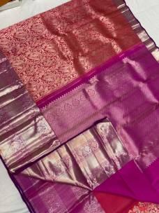 Red with purple pure kanchipuram wedding silk sarees