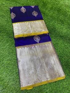 Navy blue and yellow pure venkatagiri silk sarees