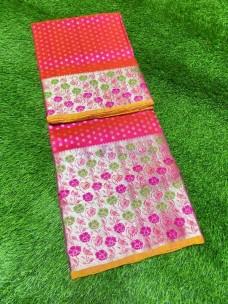 Dark pink and yellow pure venkatagiri silk sarees