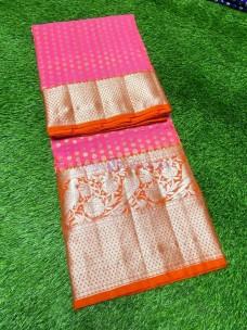 Pink and orange pure venkatagiri silk sarees