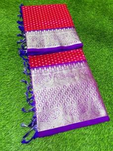 Dark pink with blue pure venkatagiri silk sarees
