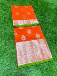 Orange pure venkatagiri silk sarees