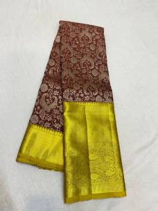 Dark brown pure kanchipuram wedding silk sarees