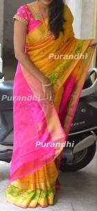 Yellow with dark pink uppada checks with pochampally border