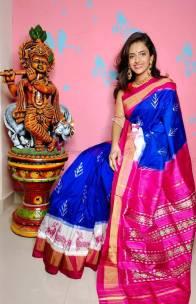 Blue with pink pure ikat silk saree