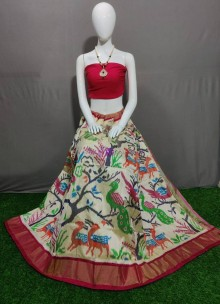 Cream pure ikat silk lehenga
