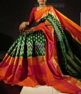 Dark green ikat silk sarees