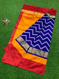 Dark blue ikat silk sarees