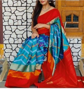 Sky blue with red pure ikat silk sarees