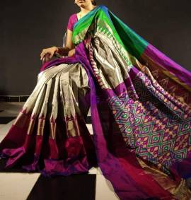 Grey with dark purple pure ikat silk sarees