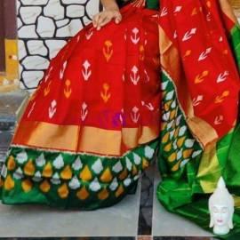 Red and green ikat silk sarees