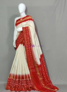 Cream with red pure ikat silk sarees