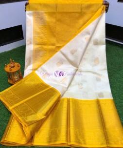 White with mustard yellow kuppadam pattu sarees