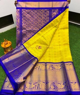 Yellow with blue kuppadam sarees