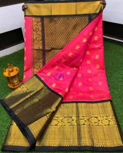 Dark pink and black kuppadam pattu sarees