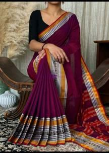 Burgundy narayanpet cotton sarees