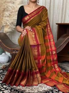 Brown pure narayanpet cotton sarees