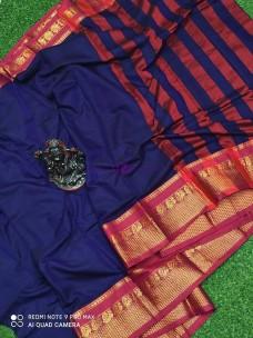 Navy blue pure narayanpet cotton sarees