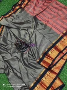 Grey and black pure narayanpet cotton sarees