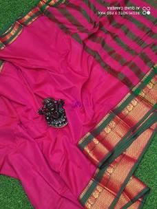 Pink and green narayanpet cotton sarees