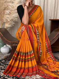Orange and red Narayanpet cotton sarees