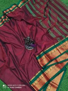 Maroon and dark green narayanpet cotton sarees