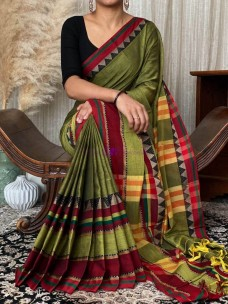 Green pure narayanpet cotton sarees