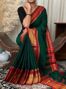 Dark green with red narayanpet cotton sarees