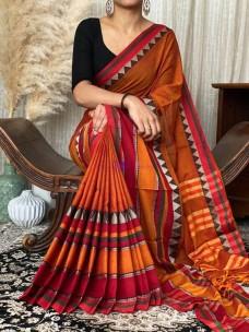 Dark orange narayanpet cotton sarees