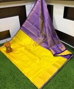 Yellow with blue uppada tissue sarees