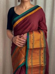 Maroon mercerised narayanpet cotton sarees