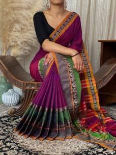 Dark magenta pure Narayanpet cotton sarees