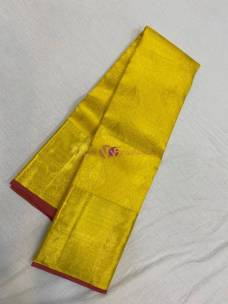Yellow with red pure silk sarees