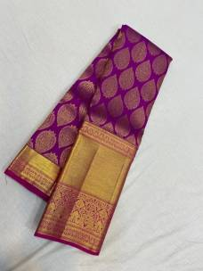 Dark magenta pure kanchipuram wedding silk sarees