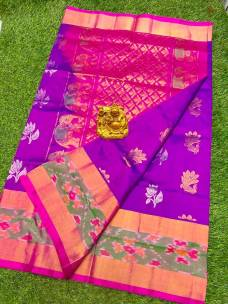 Purple and pink uppada sarees with butti and pochampally border