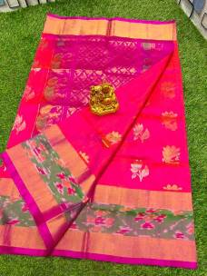 Pink uppada sarees with butti and pochampally border