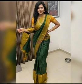 Dark green uppada mahanati checks sarees