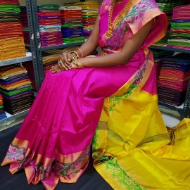 Dark pink and yellow uppada sarees with pochampally border