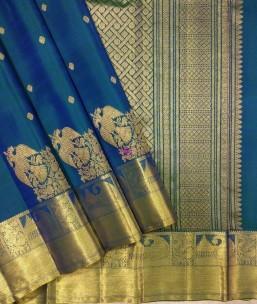 Peacock blue fancy silk saree