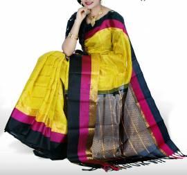Yellow with black kuppadam malai silk sarees