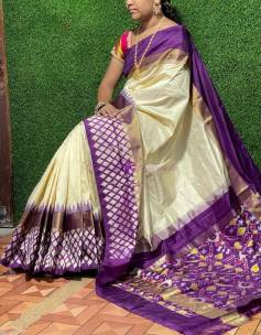Cream with violet ikat sarees