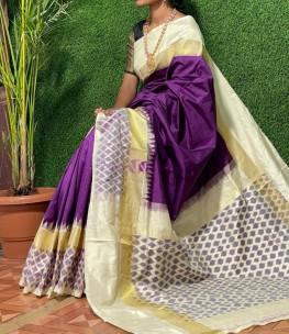 Dark violet ikat silk sarees